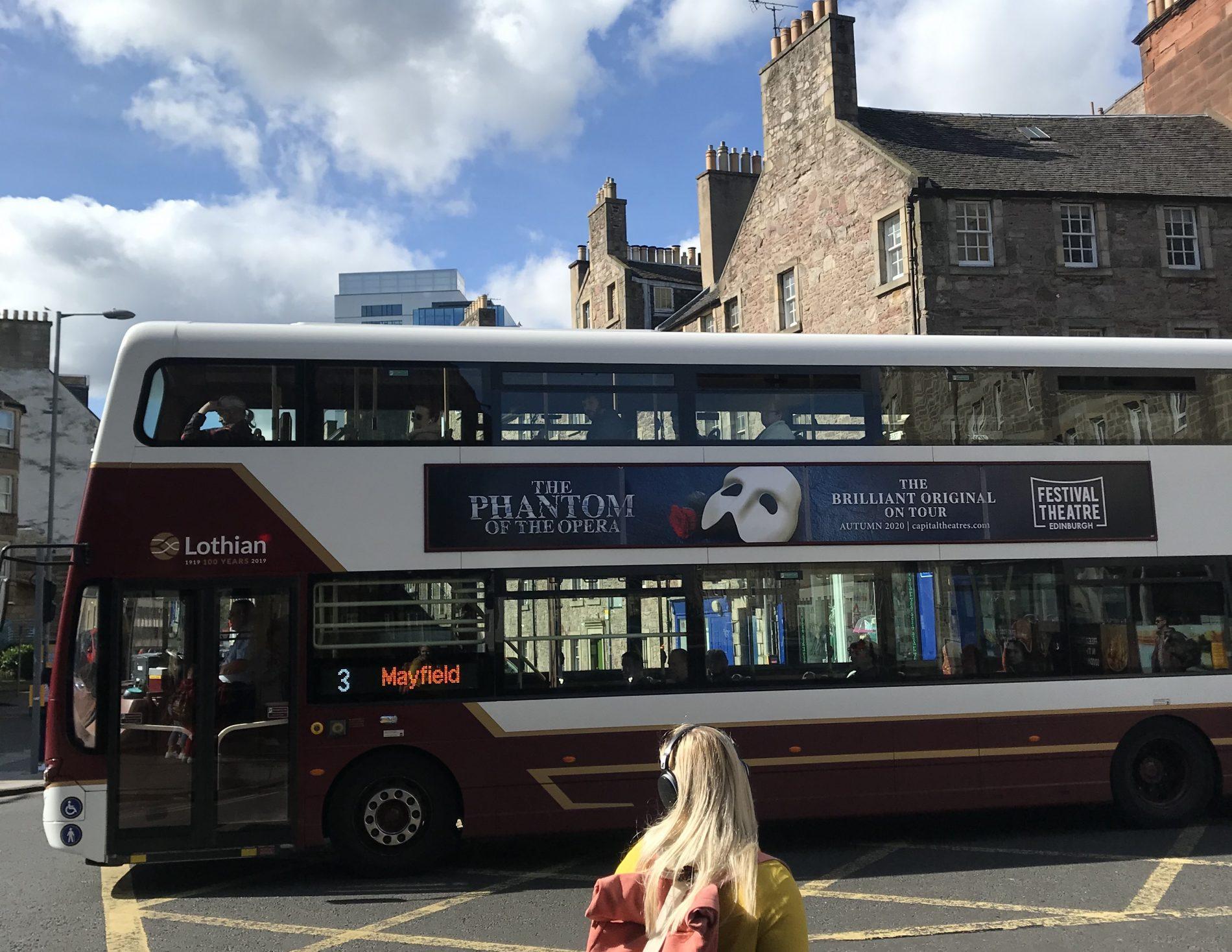 Edinburgh bus displaying Phantom of the Opera advert